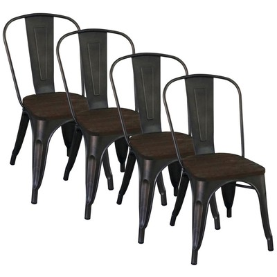Industrial Style Side Chair Box of 4 - Gunmetal
