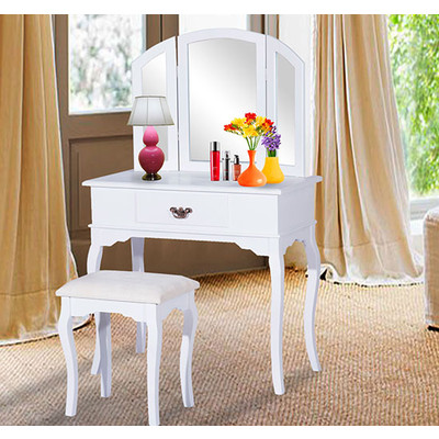 Classic Dressing Vanity Makeup Table With Stool Mirror White