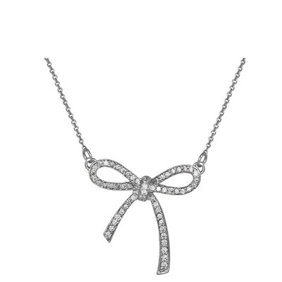 Diamond Bow Necklace.