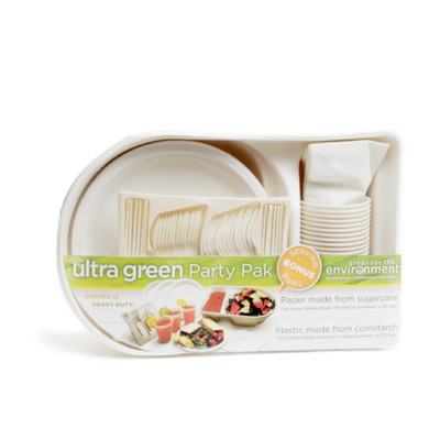 100% Certified Environmentally Green Dinnerware Party Pack