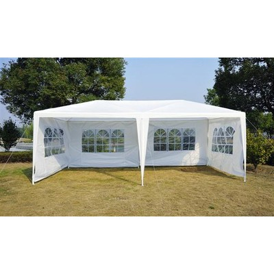 10' x 20' Gazebo Party Tent with 4 Removable Window Walls White