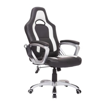 Race Car High Back Massage Office Chair Black/White