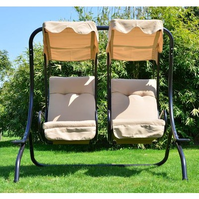 2-Person Separated Swing Seat Chair Porch Loveseat Hammock With Canopy