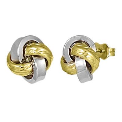 11mm Two Tone Knot Stud Earrings