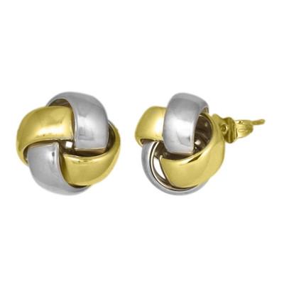 14mm Two Tone Knot Stud Earrings