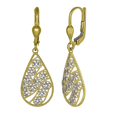 Dangling Two Tone Flower Weave Drop Earrings