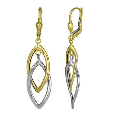 "Two Toned ""Drawn Together"" Drop Earrings"