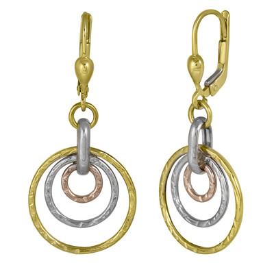 Three Toned Ripple Hoop Earrings
