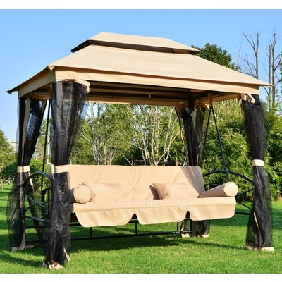 Outdoor 3 Person Patio Daybed Canopy Gazebo Hammock Swing With Mesh Walls