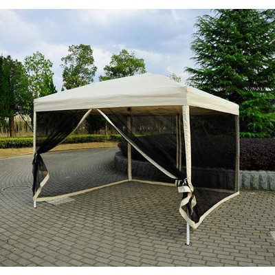 10' x 10' Outdoor Gazebo Pop-Up Party Tent Canopy With Mesh Walls Tan
