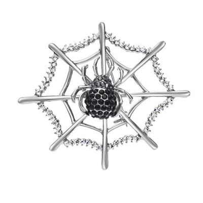 Rhodium Plated Black Spider Web Brooch