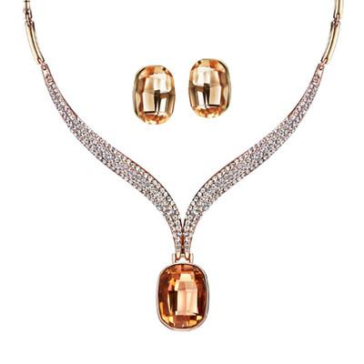 14K Rose Gold Plated Champagne Swarovski Elements Jewellery Set