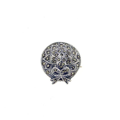 Sterling Silver Pin Marcasite Hat