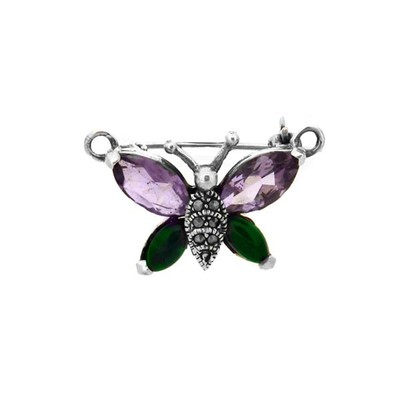 Sterling Silver Pin Marcasite Butterfly