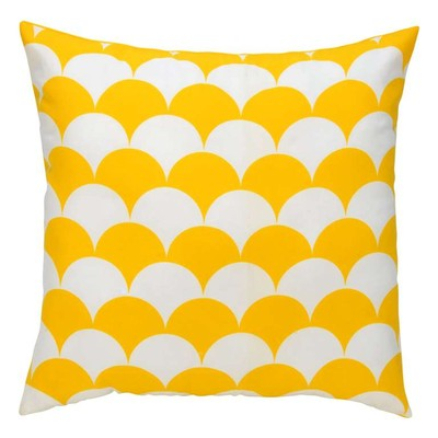Giftopolis Yellow Circle Design Throw Pillow Cushion 17 by 17 inches Set of 2