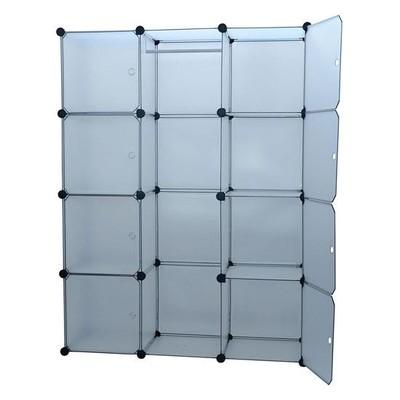 Portable Modular Storage Clothes Closet Organizer w/ 8 Enclosed Cube Shelves