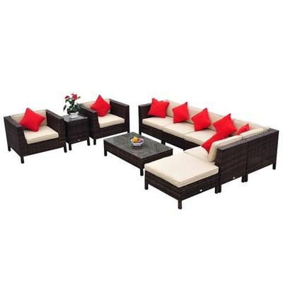 9pc Outdoor Rattan Sofa Sectional Patio Furniture Set