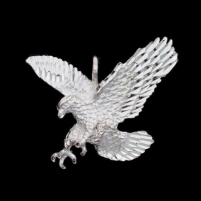 Silver DiamondCut Animal Charm Eagle
