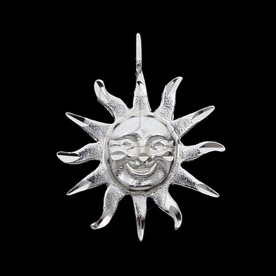 Silver DiamondCut Nautical Charm Sun Face