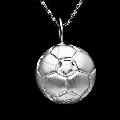 Silver DiamondCut Sports Charm Soccer