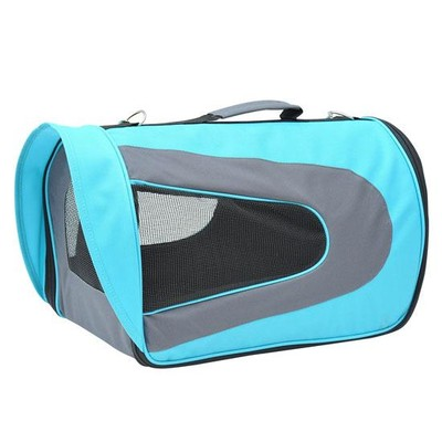 Collapsible Airline Pet Carrier Bag Mesh Crate Tote Blue