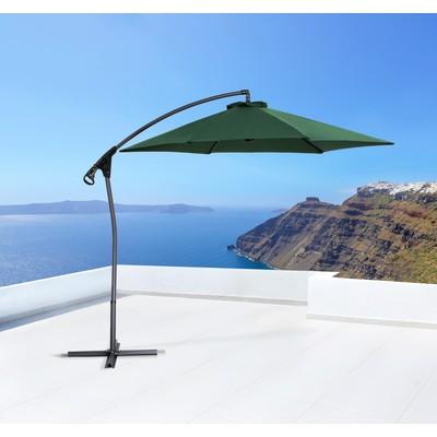 Cantilever Outdoor Umbrella - Hanging Side Post Umbrellas - Green - GANDRIA