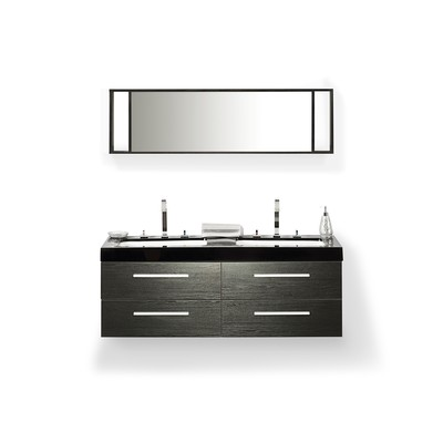 Bathroom Vanity black - with Sink, Cabinets and Mirrors - MALAGA