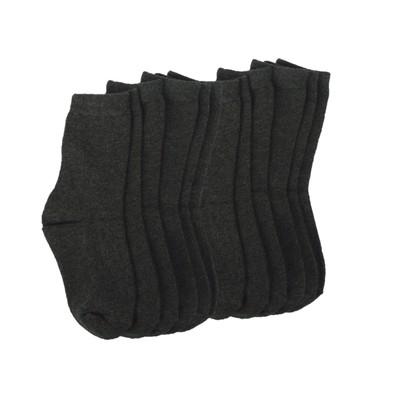 6 Pairs of Wide Rib Crew Socks-Dark Grey Heather