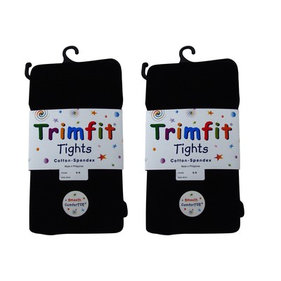2 Pairs of Flat Knit Tights-Black