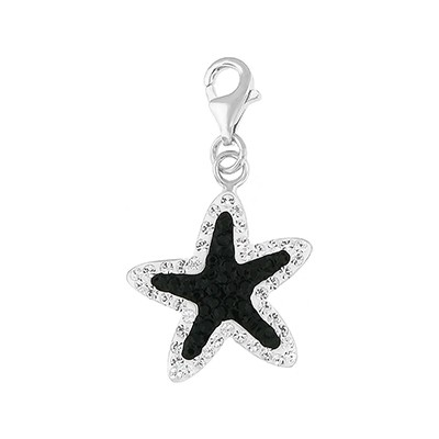 Silver and Crystal Charm- Star Fish