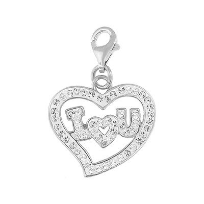 Silver and Crystal Charm - I Love U Clear