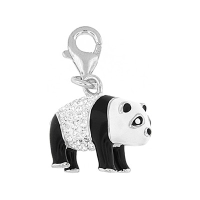 Silver and Crystal Charm - Panda