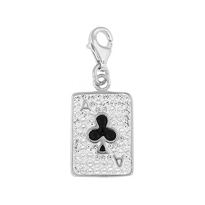 Silver and Crystal Charm - Ace of Clubs