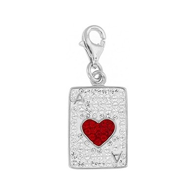 Silver and Crystal Charm - Ace of Hearts