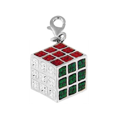Silver and Crystal Charm - Cube
