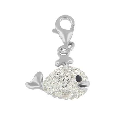 Silver and Crystal Charm - Whale