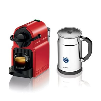 Nespresso C40REPK Inissia Espresso Maker with Aeroccino Plus - Red