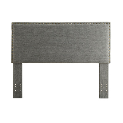 Double/Queen convertible Studded Linen Upholstered Headboard Only - Grey