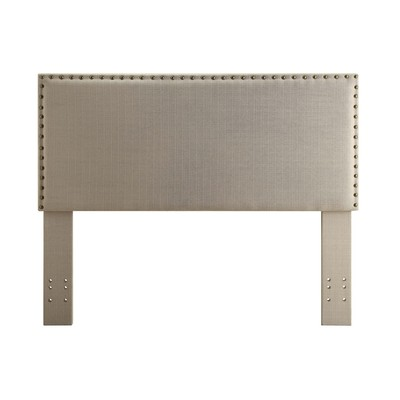 Double/Queen convertible Studded Linen Upholstered Headboard Only - Natural Linen