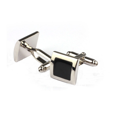Silver Square and Simple Black Inlay Cufflinks