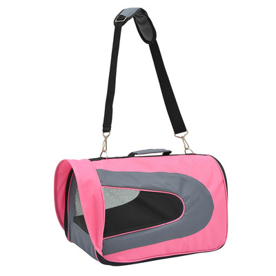 Collapsible Airline Pet Carrier Bag Mesh Crate Tote Pink