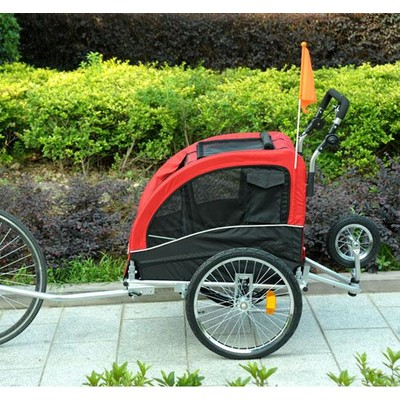 2in1 Bicycle Pet Dog Trailer Stroller Carrier Red Black