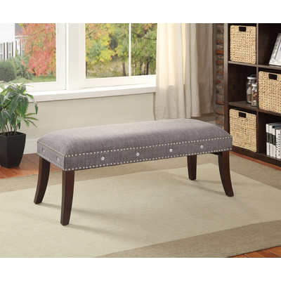 GREY FABRIC BENCH WITH NAILHEAD AND CRYSTAL DETAIL