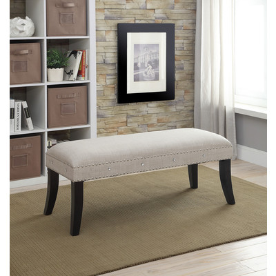 NATURAL LINEN FABRIC BENCH WITH NAILHEAD AND CRYSTAL DETAIL