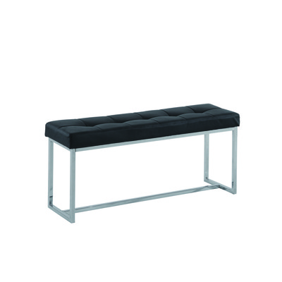 Tufted faux black leather chrome bench