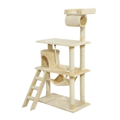 "55"" Cat Tree Condo Kitten Scratching Post With Ladder Beige"