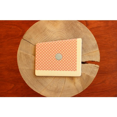 Tangerine and Custard Polka Dots Wooden Pocket Square