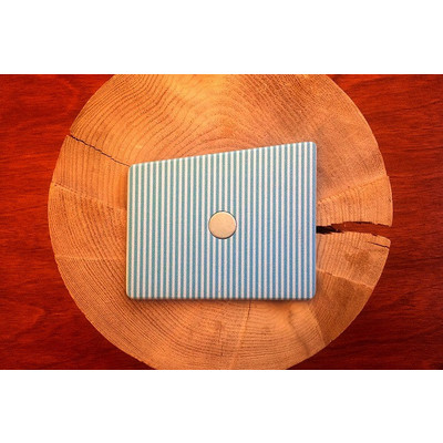 Aquamarine and Scuba Blue Pin Stripes Wooden Pocket Square