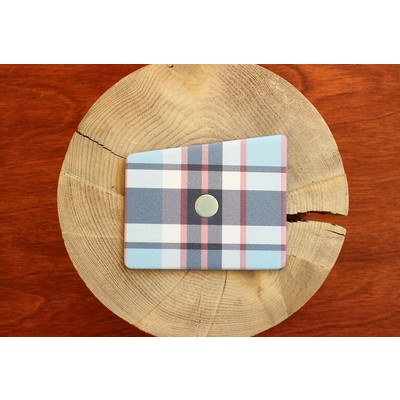 Light Red and Multi Blue Plaid Wooden Pocket Square