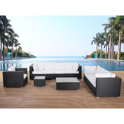 Black Wicker Conversation Set - Deep Seating Outdoor Lounge - MAXIMA black